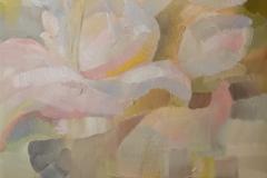 Blumen in geflochtener Vase / Öl/Leinwand / 60x90