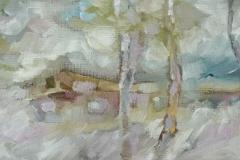 Hinter den Bäumen / Öl/Leinwand / 49x20