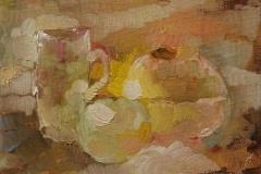 Stilleben mit Apfel / Öl/Leinwand / 18x13