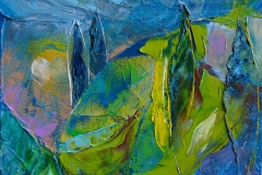 Landschaft in Lila Blau / Öl/Leinwand / 18x13 / - verkauft -