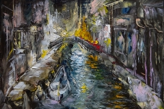 Venedig in der Nacht Motiv 1 / Öl/Leinwand / 24x18 / - verkauft -