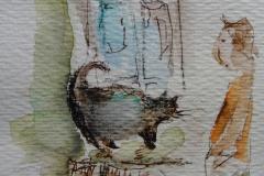 Dicke Katze / Aquarell/Mischtechnik / 8 x 10,5