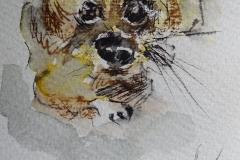 Kleiner Hund / Aquarell/Mischtechnik / 8 x 10,5