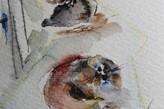 Zwei Hunde / Aquarell/Mischtechnik / 8 x 10,5