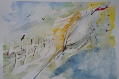 Der Vogel / Aquarell/Ölpastellkreide / 20 x 15