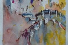 Landschaftsskizze / Aquarell/Ölpastellkreide / 14 x 18