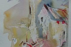 Haus mit Boot / Aquarell/Ölpastellkreide / 14 x 18