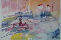 Landschaftsskizze / Aquarell/Ölpastellkreide / 18 x 14