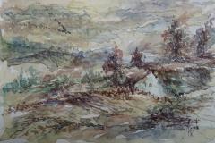 Unterwegs zum Starnberger See / Aquarell / 15 x 10