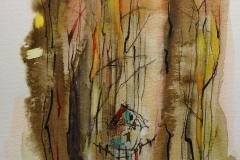 Haus im Wald / Aquarell/Mischtechnik / 17 x 24
